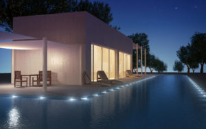 Modern villa with water pool