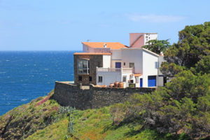 Typical real estate of mediterranean seashore, Cerbera village,